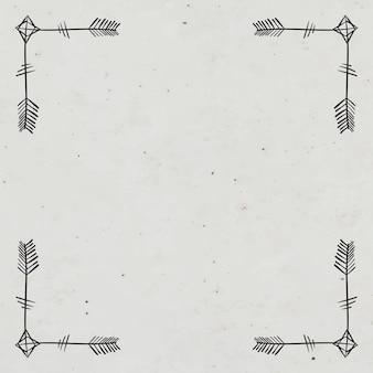 Ornamento de seta boêmio de borda de moldura vetorial