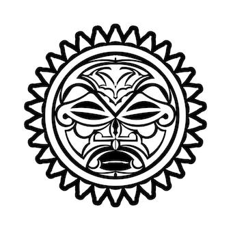 Ornamento de tatuagem com estilo maori de rosto de sol. máscara étnica africana, asteca ou maia. Vetor Premium