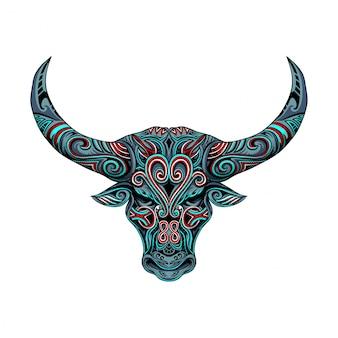 Ornamento de vetor de cabeça de touro