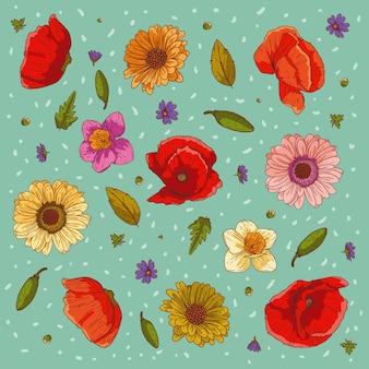 Ornamento de vetor floral composição de flores de verão cartaz floral banner cartão postal