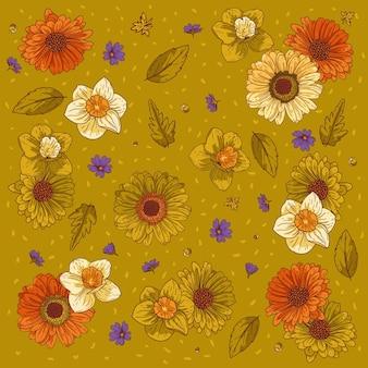 Ornamento de vetor floral composição de flores sobre fundo verde-oliva pôster floral banner cartão postal