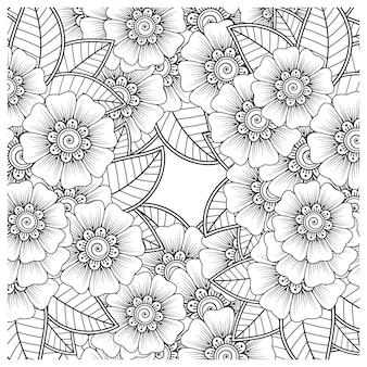 Ornamento decorativo de flor mehndi em estilo oriental étnico doodle ornamento contorno desenhado à mão