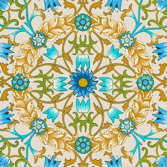 Ornamento decorativo de flores vintage sem costura de fundo