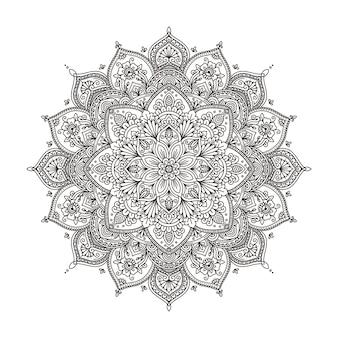 Ornamento decorativo de mandala para decoração de tatuagem de henna mehndi e página de livro para colorir