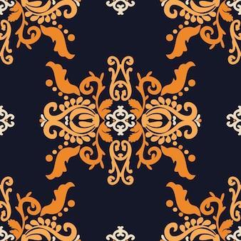 Ornamento decorativo vintage damasco padrão sem emenda de cor laranja azul gráfico vetorial