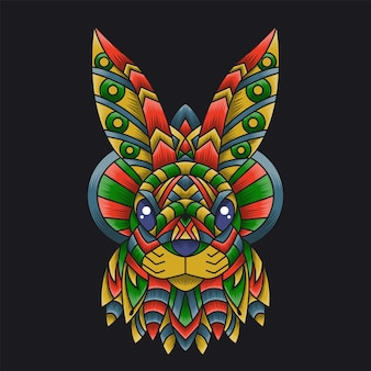 Ornamento doodle rabbit ilustração