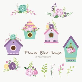 Ornamento editável da casa do pássaro da flor