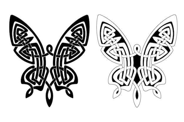 Ornamento em forma de borboleta com asas estendidas, no estilo nacional celta, isolado em um fundo branco.