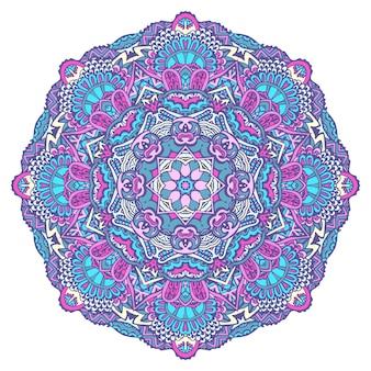 Ornamento estampado floral indiano. impressão de flor de mandala étnica. medalhão de vetor. elemento de design de estilo de arte folclórica colorida festivo isolado