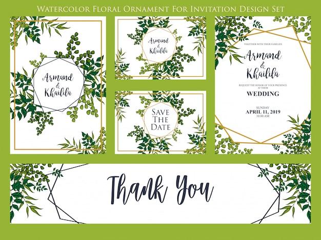 Ornamento floral aquarela para conjunto de design de convite