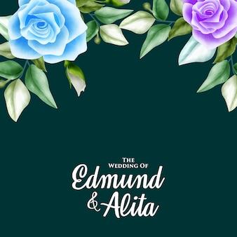 Ornamento floral aquarela para convite de casamento e cartão de presente