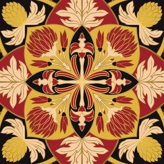 Ornamento floral colorido. modelo para xale, tapete, azulejo, bordado.