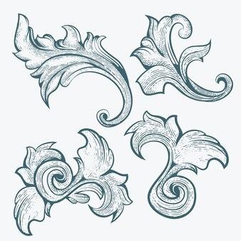 Ornamento floral com estilo de gravura