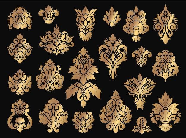 Ornamento floral de damasco enfeites vintage de ouro com conjunto de elementos floridos