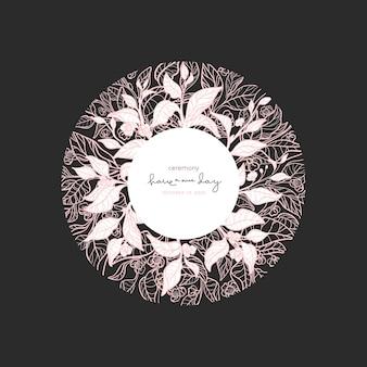 Ornamento floral de vetor chá orgânico flor planta tropical em círculo design de linha de arte