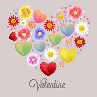 Ornamento floral do coração feliz da forma do valentim