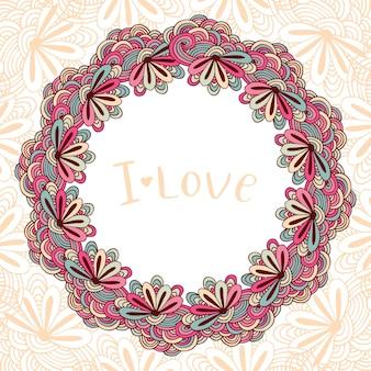 Ornamento floral do doodle do círculo. moldura decorativa com flores. zentangle cover in vector