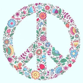 Ornamento floral do símbolo de paz