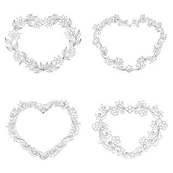 Ornamento floral em forma de coração, esboço desenhado de mão
