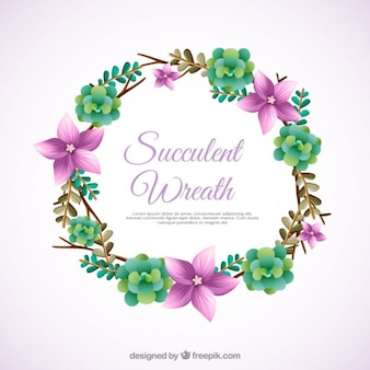 Ornamento floral grinalda com cactus