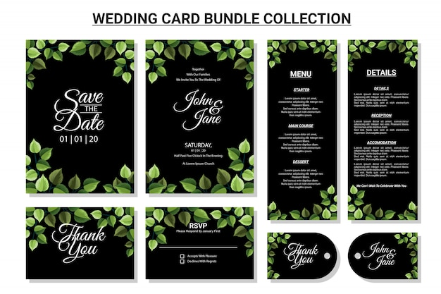 Ornamento floral para conjunto de coleta de pacote de cartão de casamento