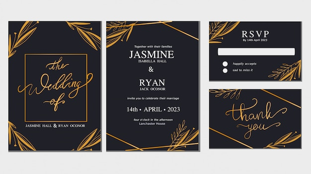Ornamento floral salvar o conjunto de vetor de coleção de cartão de convite de casamento de data.