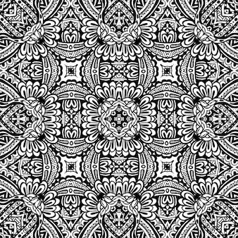 Ornamento geométrico abstrato de padrão sem emenda projeto tribal monocromático
