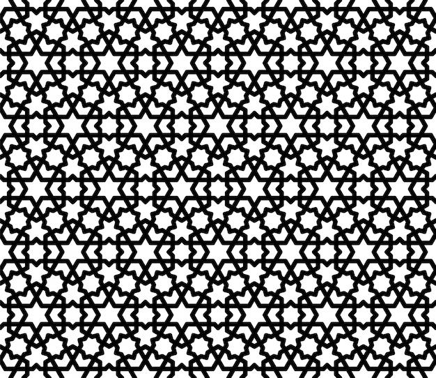 Ornamento geométrico árabe sem costura em preto e branco.