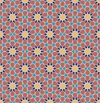 Ornamento geométrico árabe tradicional colorido sem emenda.