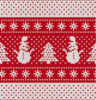 Ornamento geométrico de malha de natal com boneco de neve e árvore de natal. plano de fundo texturizado de malha.