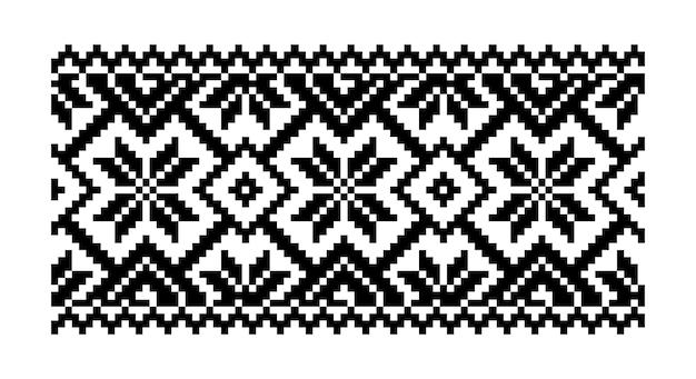 Ornamento geométrico de padrão de pixel bordado isolado fundo