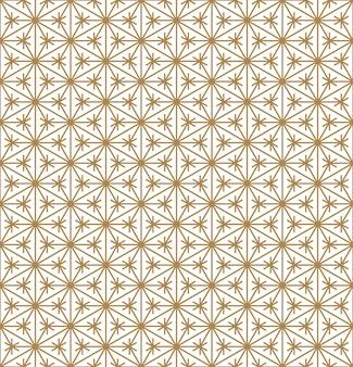 Ornamento geométrico japonês tradicional sem emenda. linhas de cores douradas.
