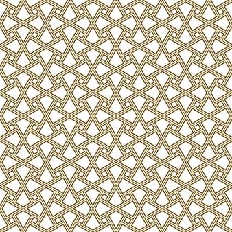 Ornamento geométrico sem costura com base na arte árabe tradicional. mosaico muçulmano. linhas de cores roxas.