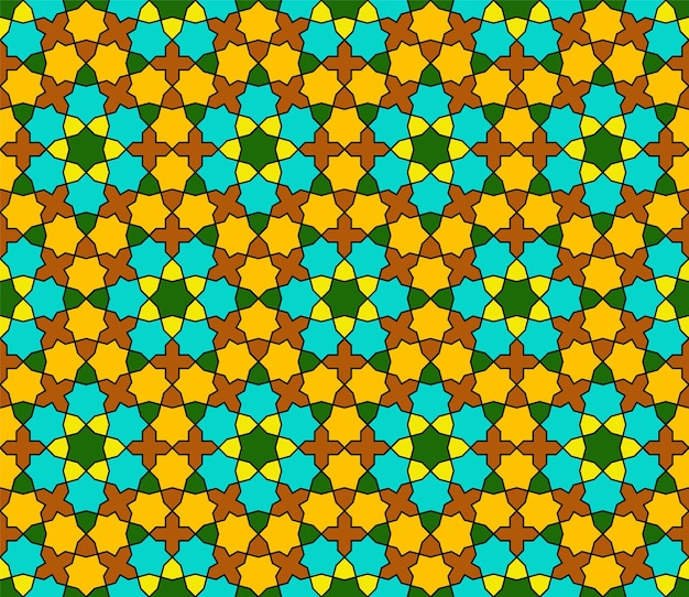 Ornamento geométrico sem costura com base na arte islâmica tradicional. cores verdes, marrons, laranja e amarelas.