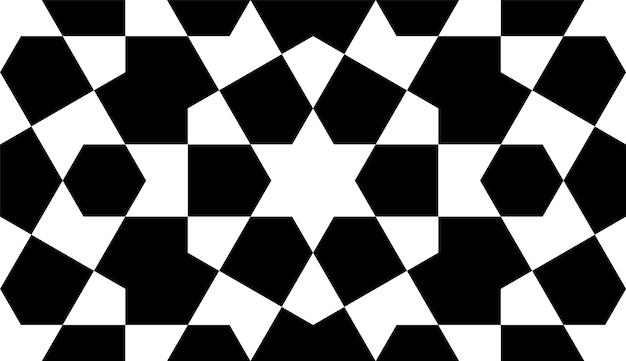 Ornamento geométrico sem costura com base na arte islâmica tradicional. preto e branco.