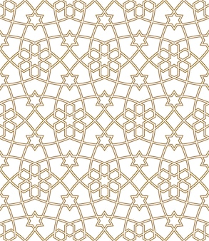Ornamento geométrico sem costura na cor marrom. linhas médias duplas.