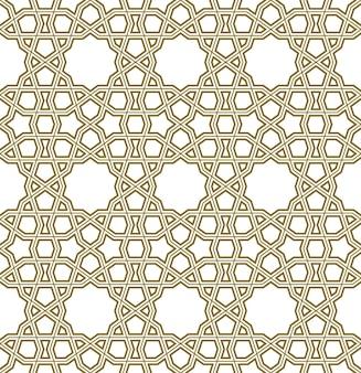 Ornamento geométrico sem emenda com base na arte islâmica tradicional. grande design para tecido, matéria têxtil, capa, papel de embrulho, plano de fundo. linhas com contornos.