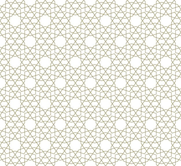 Ornamento geométrico sem emenda com base na arte islâmica tradicional. linhas de cor laranja. grande design para tecido, matéria têxtil, capa, papel de embrulho, plano de fundo. linhas finas. Vetor Premium