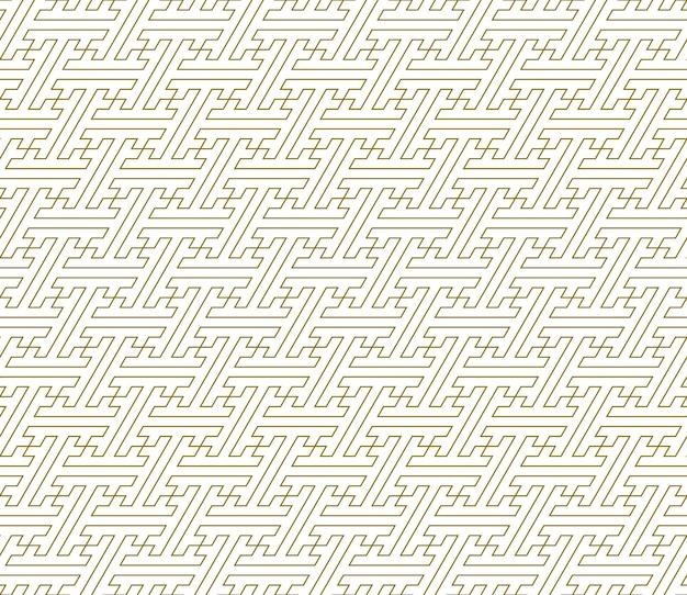 Ornamento geométrico sem emenda. linhas de cor castanha. padrão tradicional japonês sayagata. linhas finas.