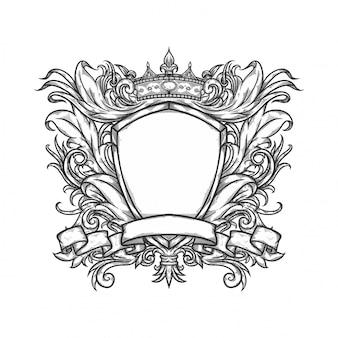 Ornamento heráldico com escudo de coroa de fita