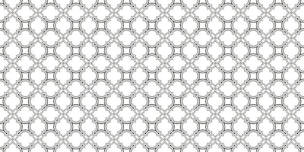 Ornamento linear, padrão geométrico monocromático sem emenda. textura de grade branca e cinza em estilo árabe. fundo do vetor, papel de parede