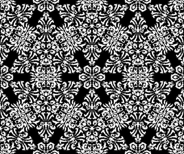 Ornamento luxuoso do damasco padrão sem emenda do vetor cor preto e branco gráfico de vetor vintage