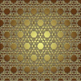 Ornamento oriental sem costura dourada sem costura de fundo
