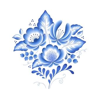 Ornamento popular bonito de porcelana russa floral de flores azuis. ilustração. composição decorativa.