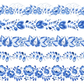 Ornamento popular bonito de porcelana russa floral de flores azuis. ilustração. fronteiras horizontais sem emenda. teste padrão floral chinês.