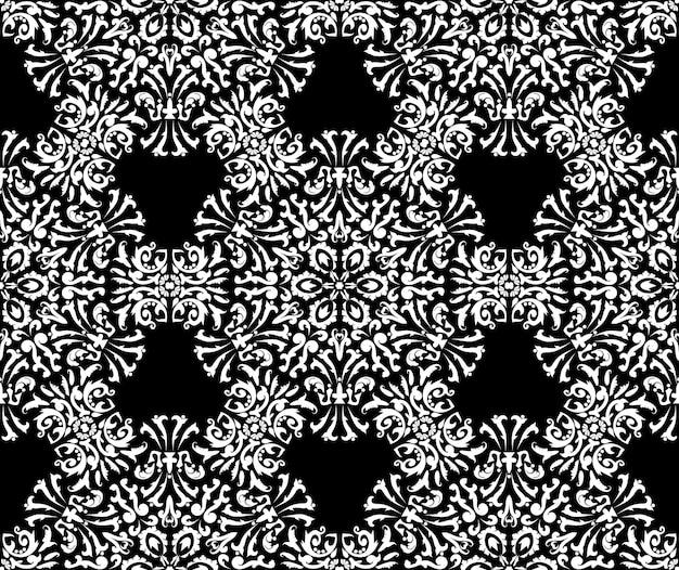 Ornamento preto e branco textura decorativa floral padrão sem emenda cor preto e branco vector