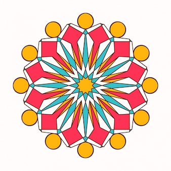 Ornamento redonda de vetores orientais com elementos arabescos