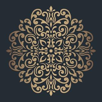 Ornamento redondo da mandala no escuro