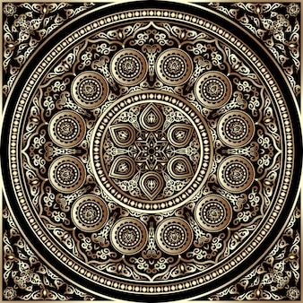 Ornamento redondo de madeira 3d - árabe, islâmico, estilo do leste