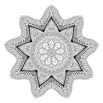 Ornamento redondo do projeto abstrato da mandala. modelo de esboço de arte-terapia para cores